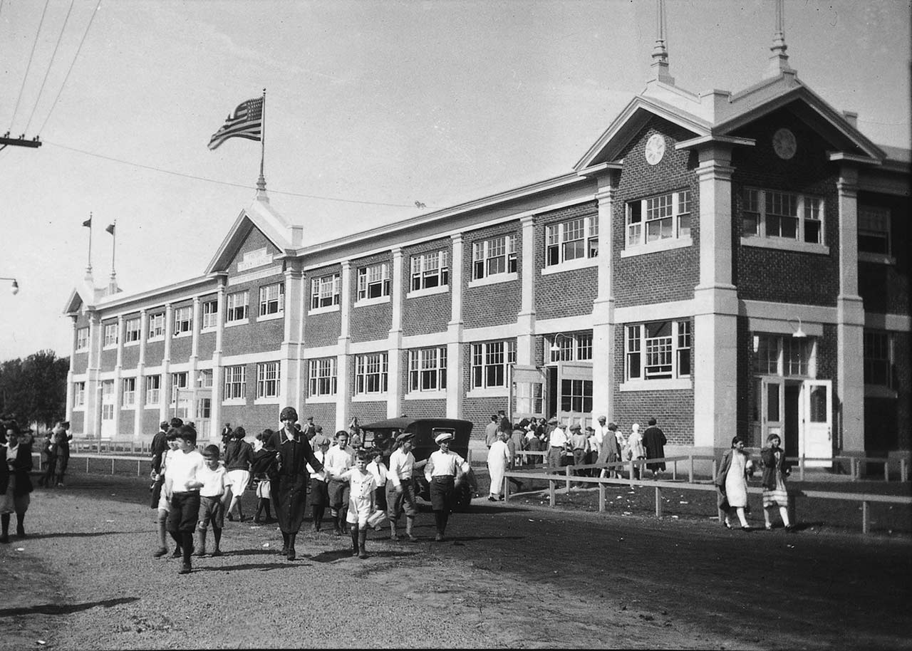 Historical photo of students walking on Big Fair Grounds