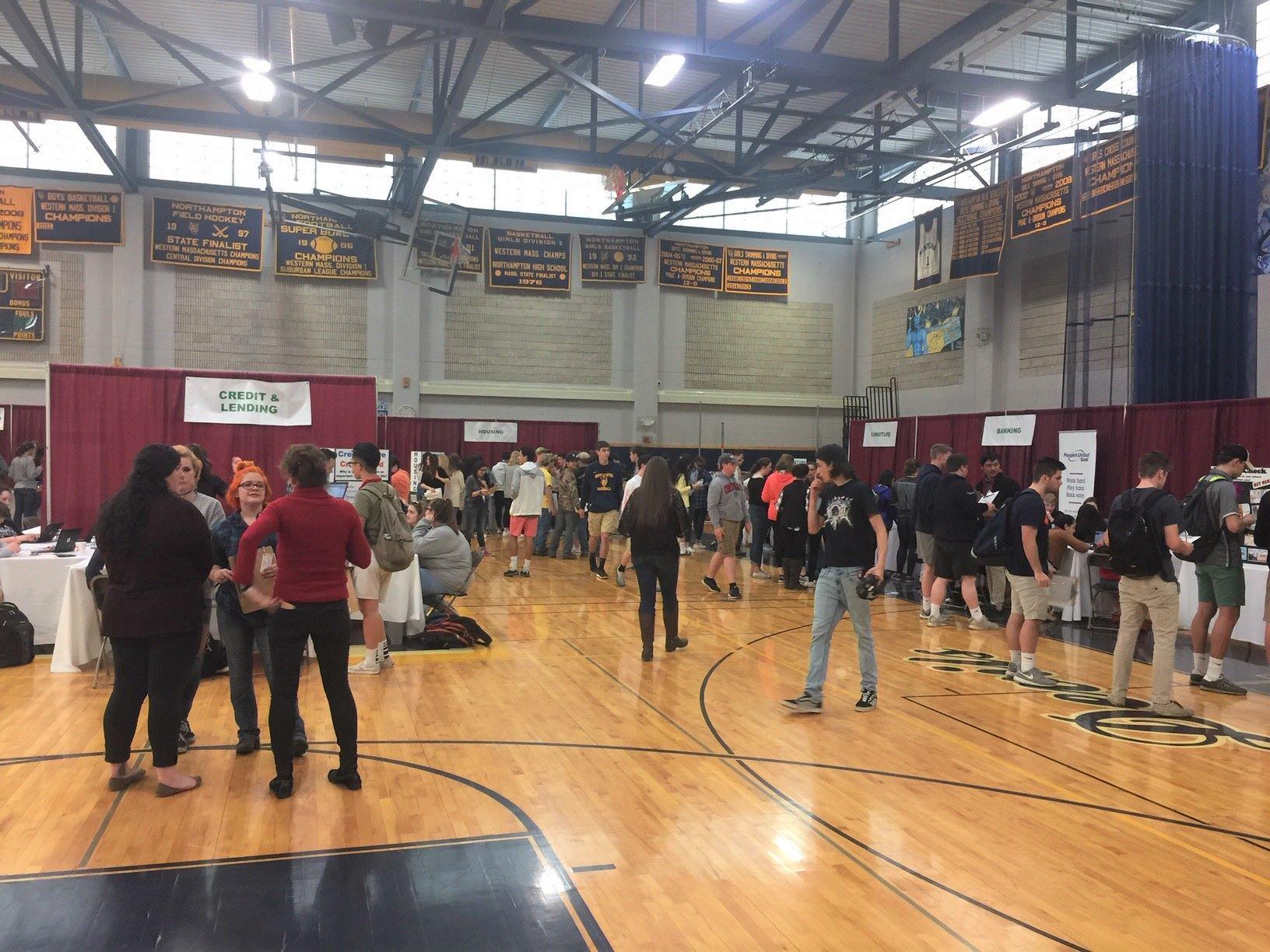 Busy Teen Reality Fair in High School gym